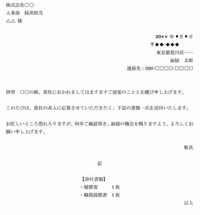 履歴書・職務経歴書の送り状例